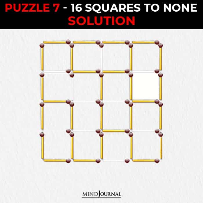 Matchstick Puzzles Test Logic Skills squares to none solution