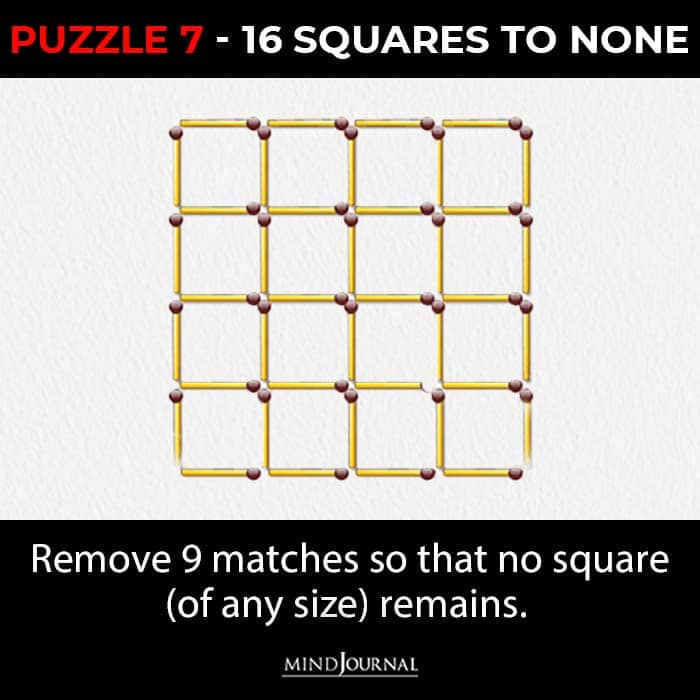Matchstick Puzzles Test Logic Skills squares to none