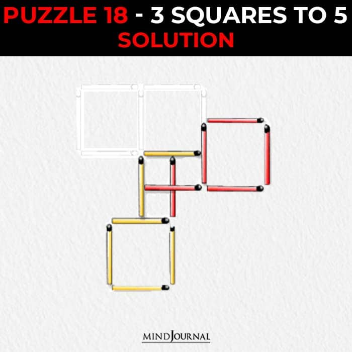 Matchstick Puzzles Test Logic Skills three squares to five solution