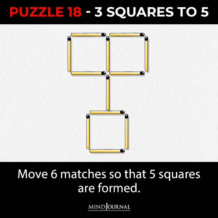 Matchstick Puzzles Test Logic Skills three squares to five