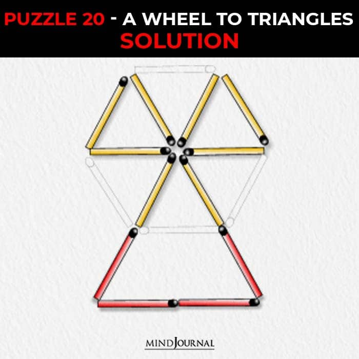 Matchstick Puzzles Test Logic Skills wheel to triangles solution