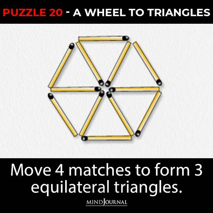 Matchstick Puzzles Test Logic Skills wheel to triangles