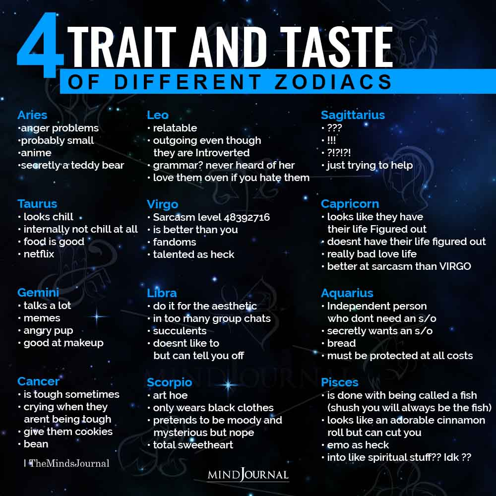 trait and taste of different zodiacs