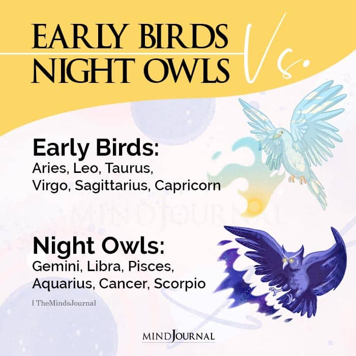 Zodiac Signs As Early Birds And Night Owls