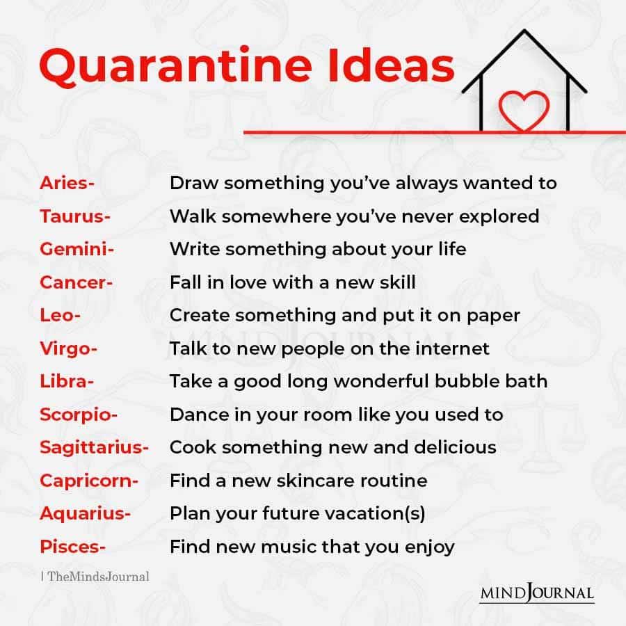 quarantine ideas for the zodiac signs