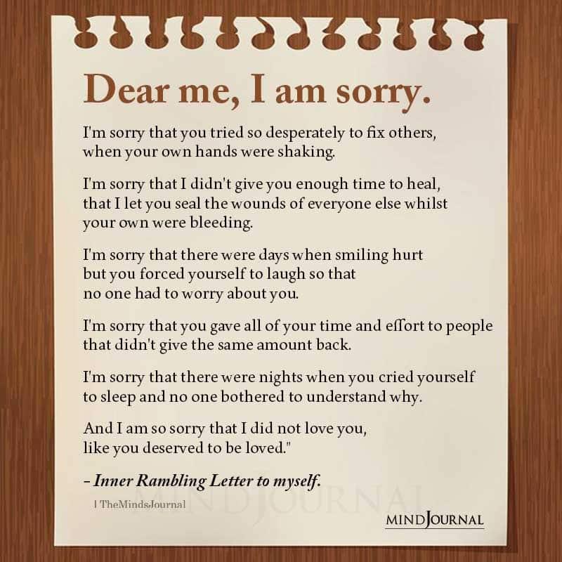 Dear Me I Am Sorry