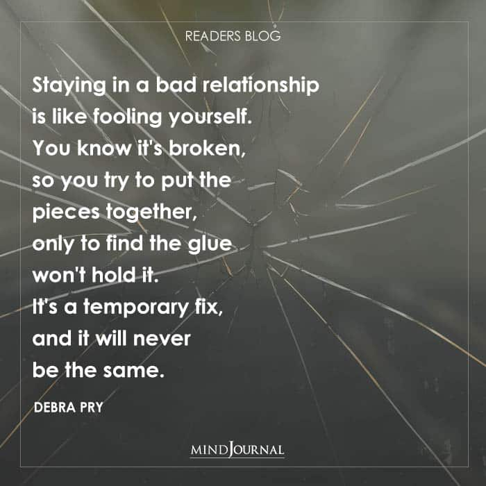 Staying in a bad relationship