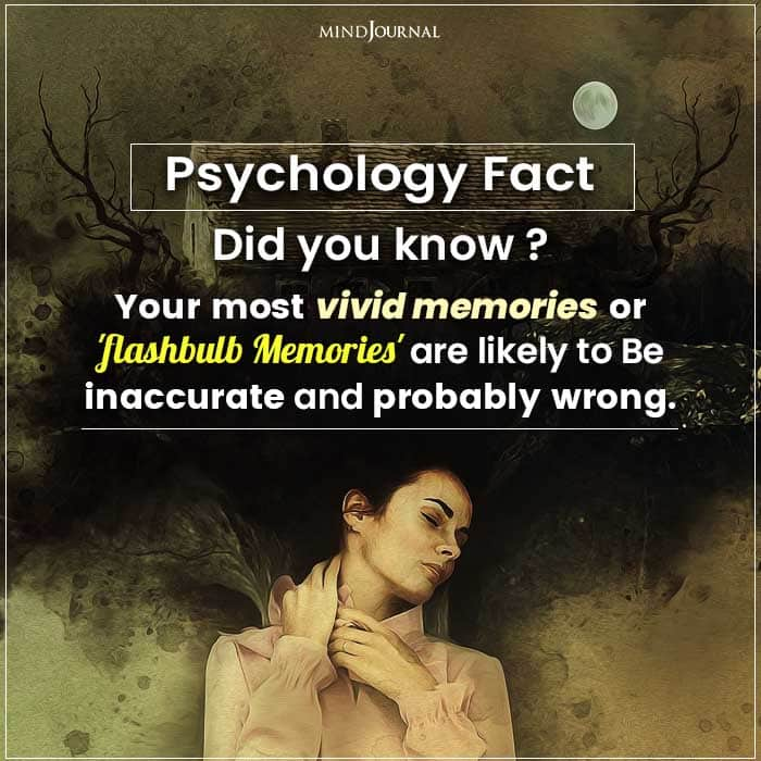 Your Most Vivid Memories or 'flashbulb Memories' Are Likely to Be Inaccurate and Probably Wrong.