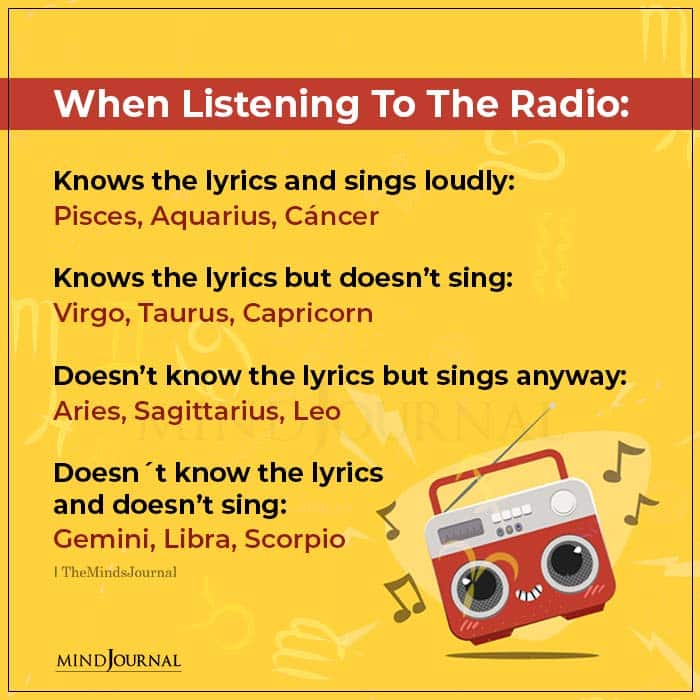 Zodiac Signs When Listening To The Radio