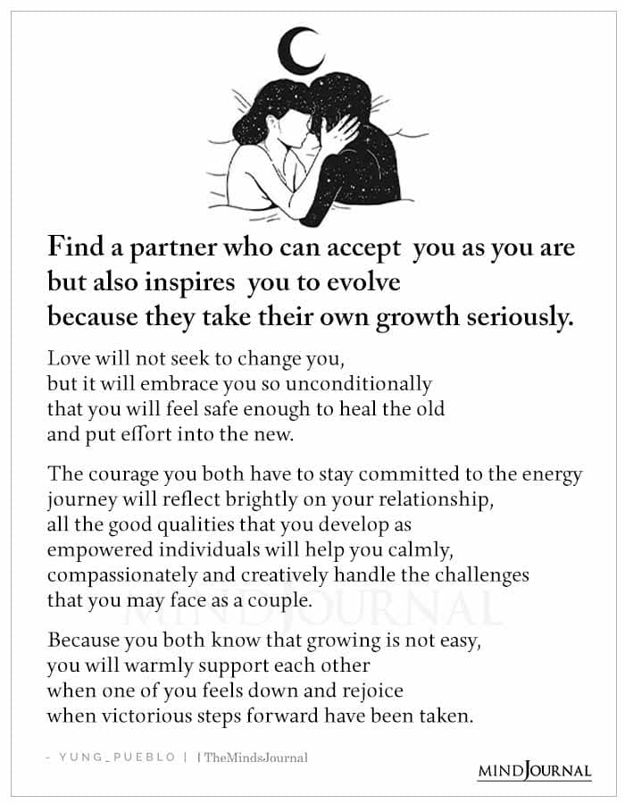 find a partner who can accept you as you are