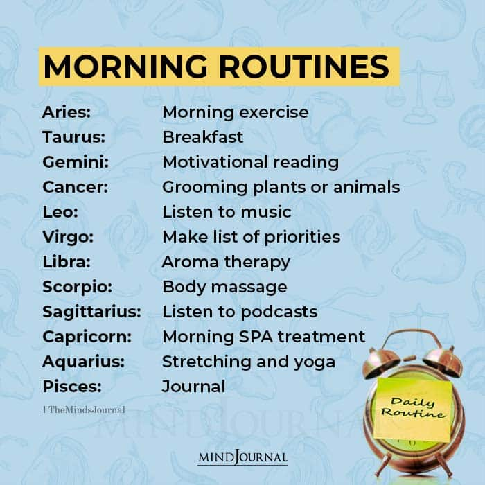 morning routines for zodiac signs