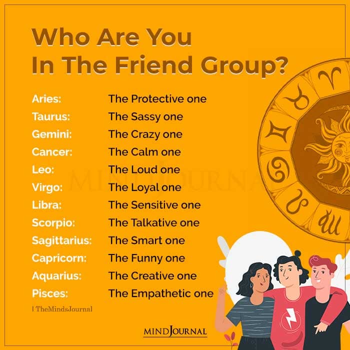 who are you in the friend group according to your zodiac