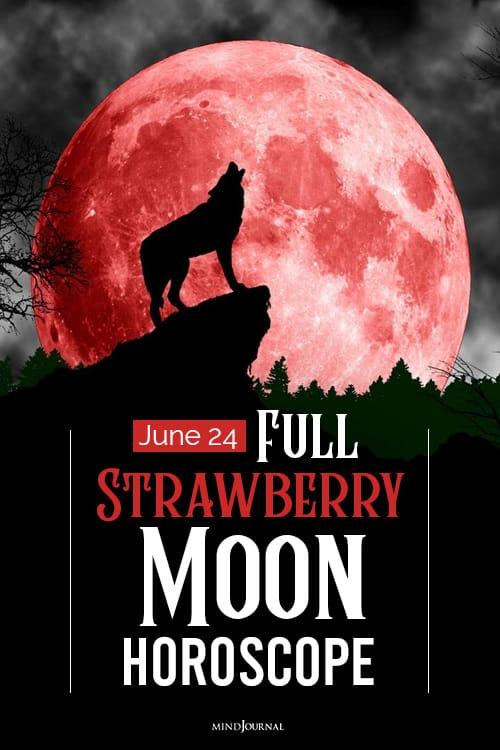 Full Strawberry Moon Horoscope pin