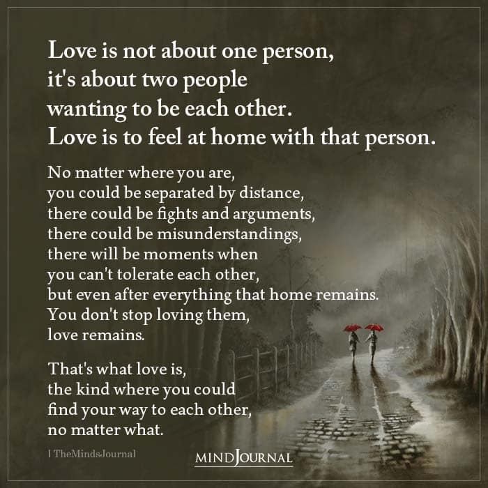 Love Is Not About One Person Its About Two People