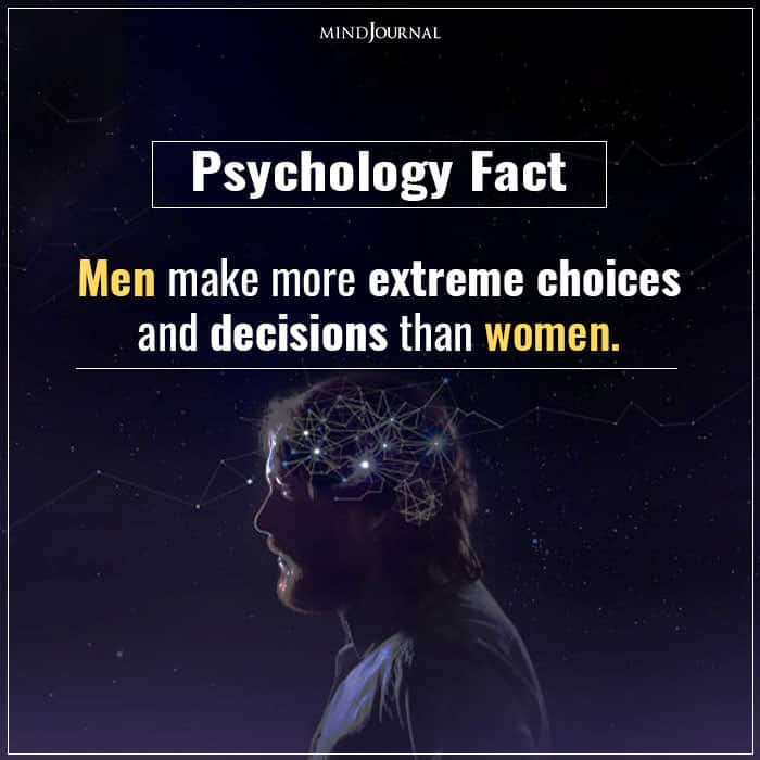 Men Make More Extreme Choices and Decisions Than Women