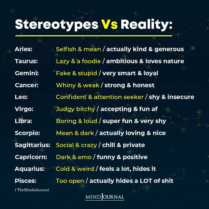 Zodiac Signs Stereotypes Vs Reality