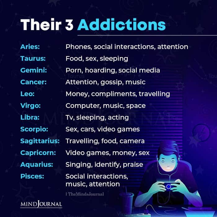 zodiac signs and their 3 Addictions