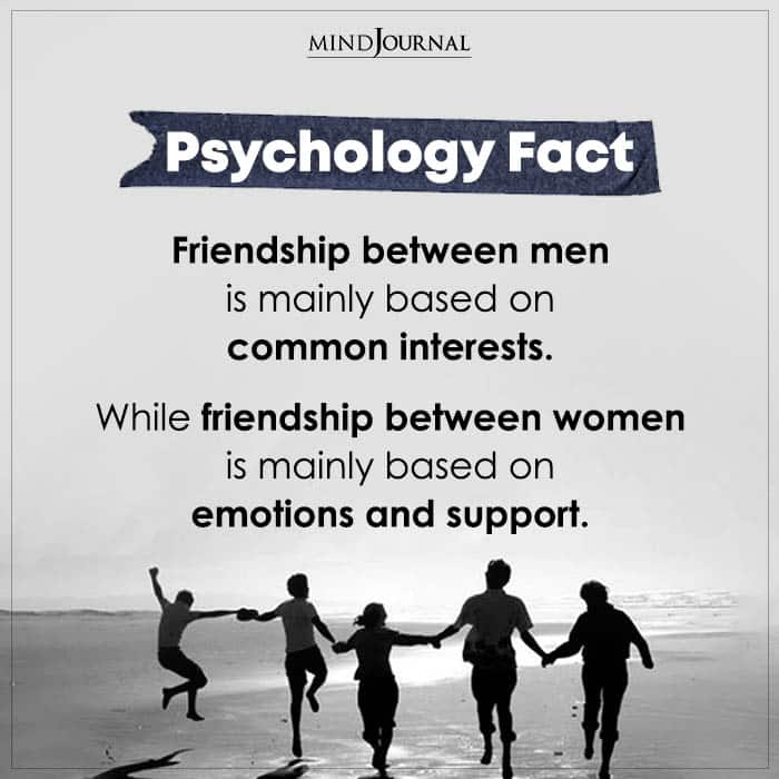 Friendship Between Men Is Mainly Based On Common Interests