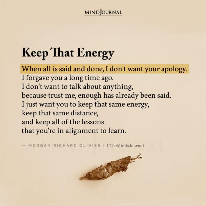 Keep That Energy When All Is Said and Done