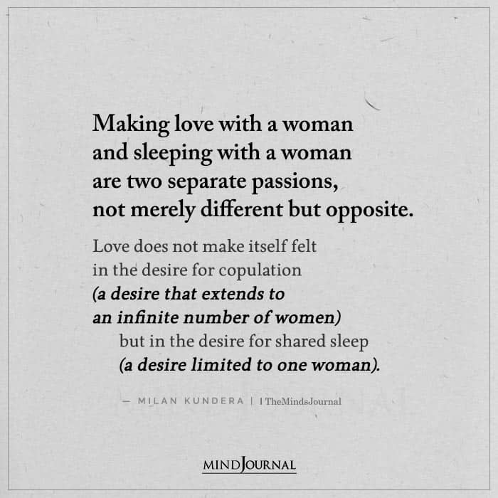 Making Love With a Woman and Sleeping With a Woman Are Two Separate
