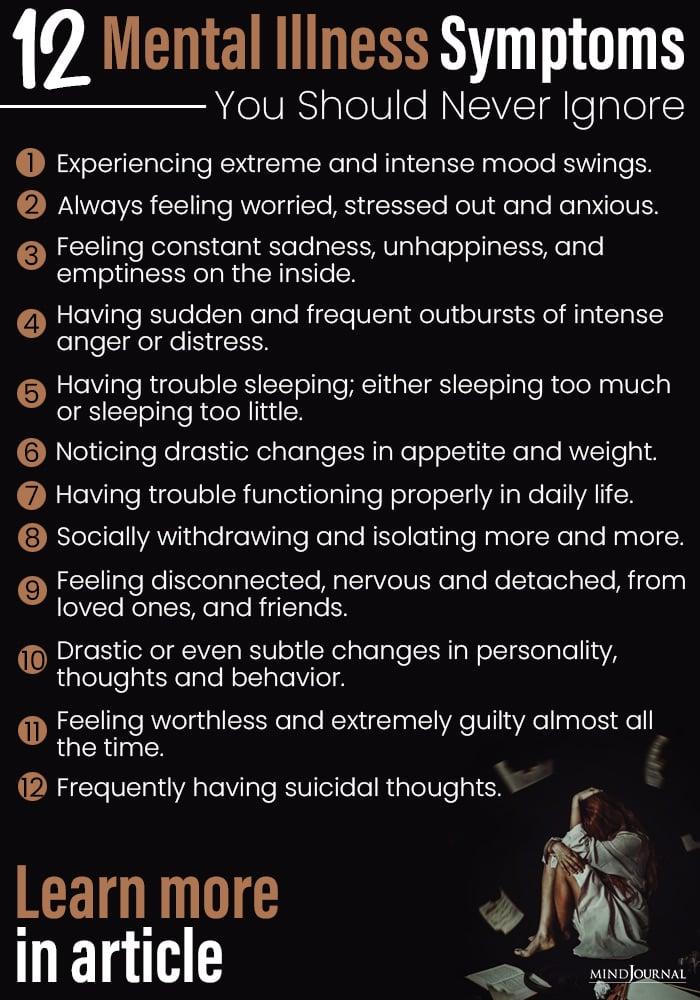 12 Mental Illness Symptoms You Should Never Ignore