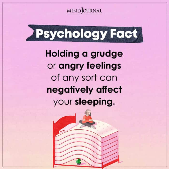 holding a grudge or angry feelings of any sort