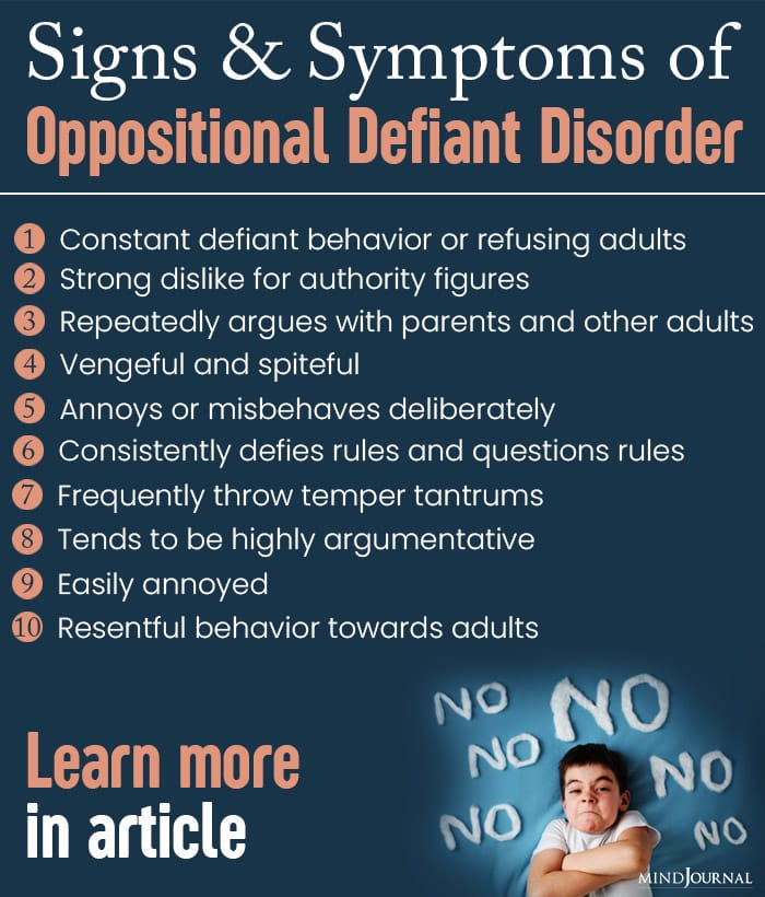 signs of symptoms of oppositional defiant disorder info