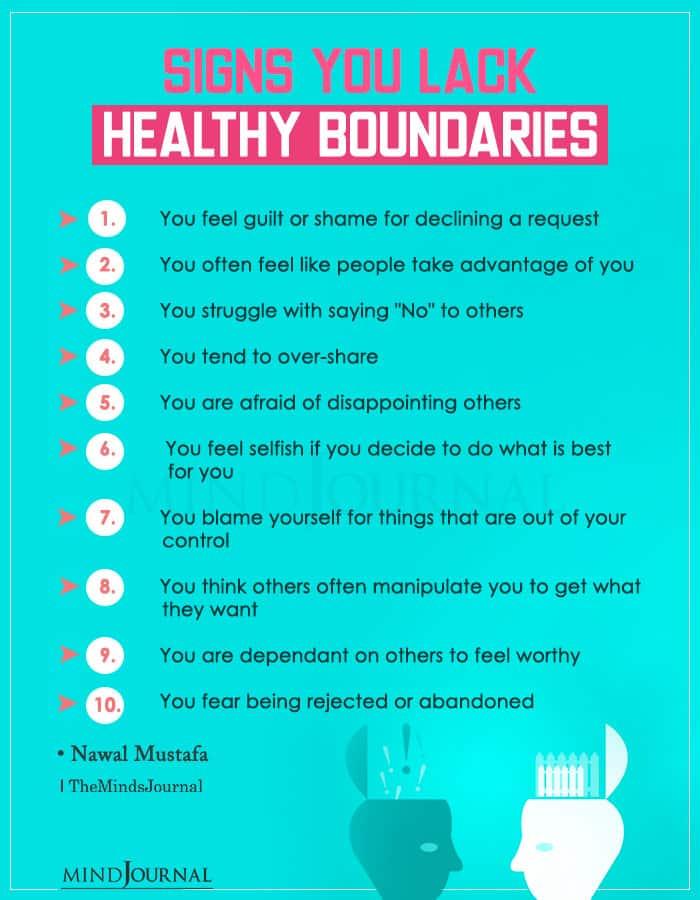 signs you lack healthy boundaries