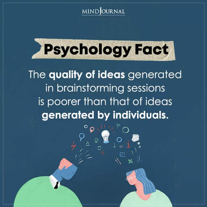 the quality of ideas generated in brainstorming sessions