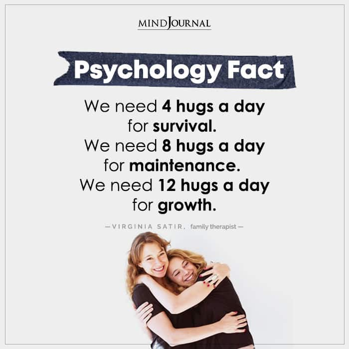 we need hugs a day for survival