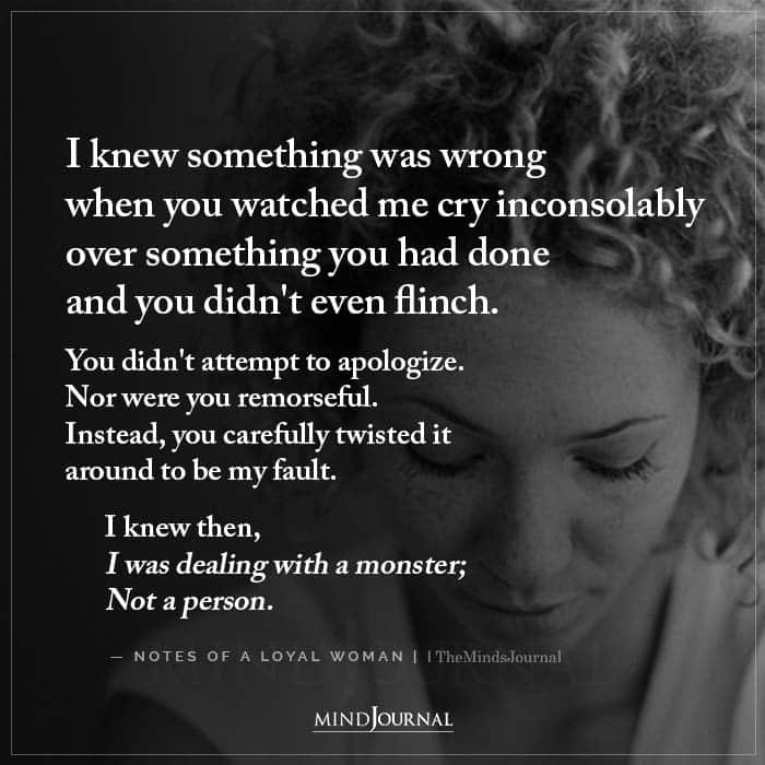 I Knew Something Was Wrong When You Watched Me Cry Inconsolably