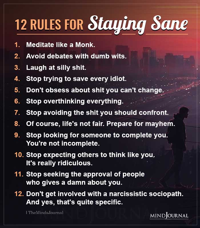 12 Rules For Staving Sane
