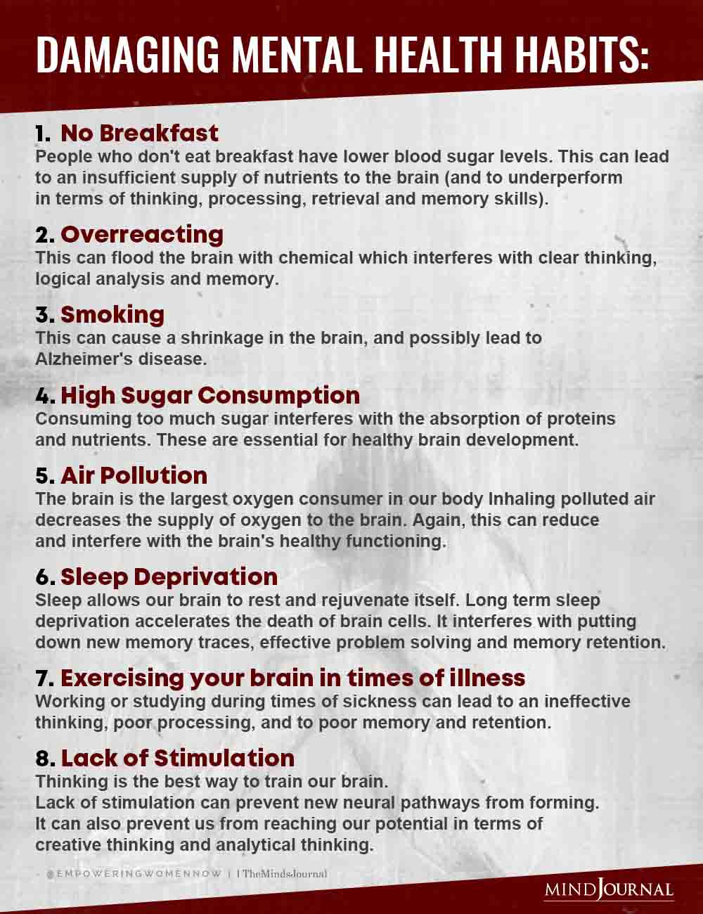 Damaging Mental Health Habits