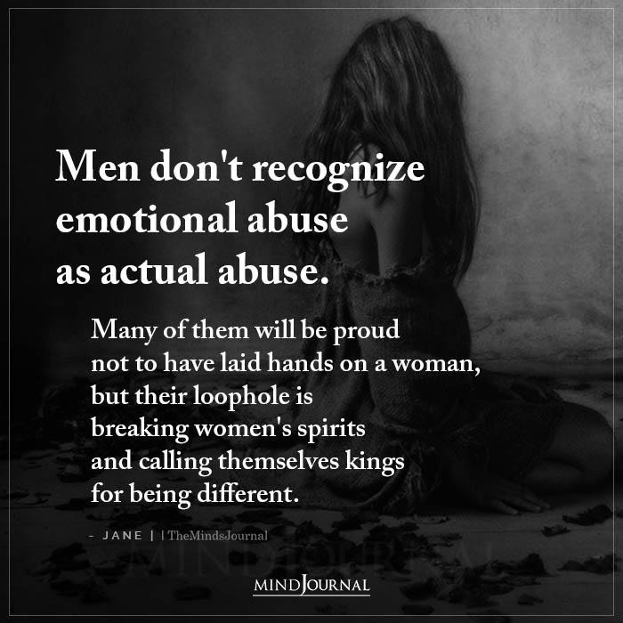 Men Dont Recognise Emotional Abuse