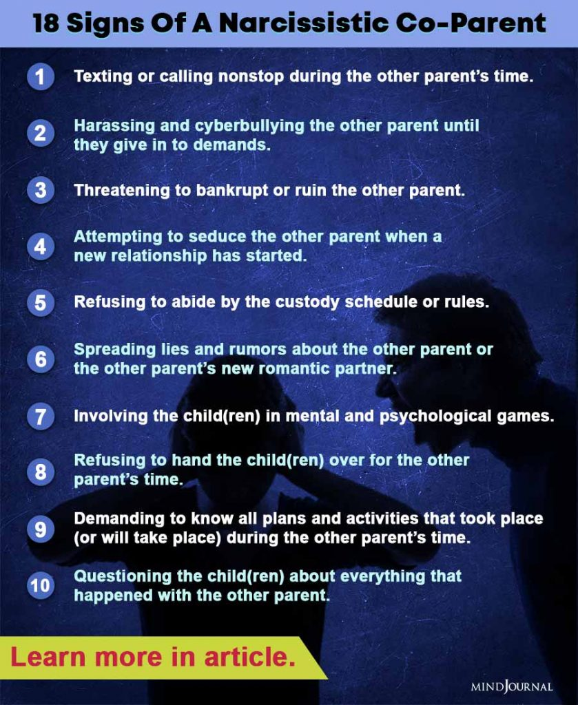 signs narcissistic co-parent infographic