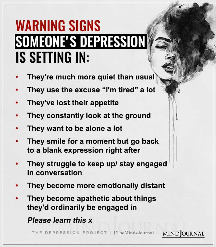 warning signs someones depression is setting in