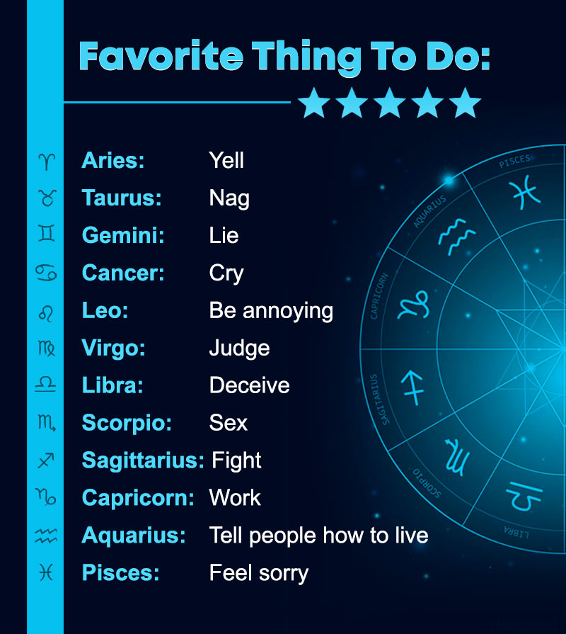 zodiac signs and their favorite thing to do